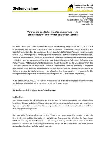 Stellungnahme zur Änderung schulrechtlicher Vorschriften beruflicher Schulen