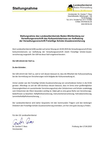 Stellungnahme zur Verwaltungsvorschrift des Kultusministeriums zur Aufhebung der Verwaltungsvorschrift Freiwillige Schüler-Zusatzversicherung