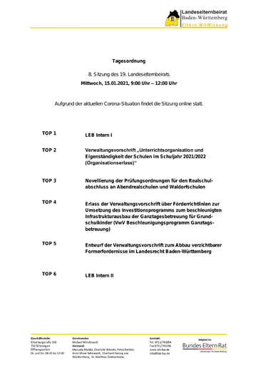 Tagesordnung 15.01.2021