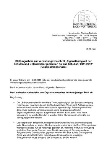 Stellungnahme zum Organisationserlass 2011/2012