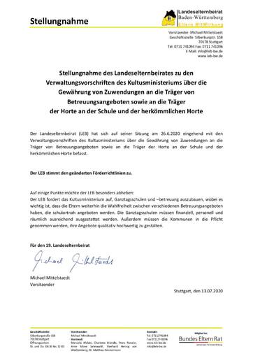 Stellungnahme über die Gewährung von Zuwendungen an die Träger von Betreuungsangeboten sowie an die Träger der Horte an der Schule und der herkömmlichen Horte