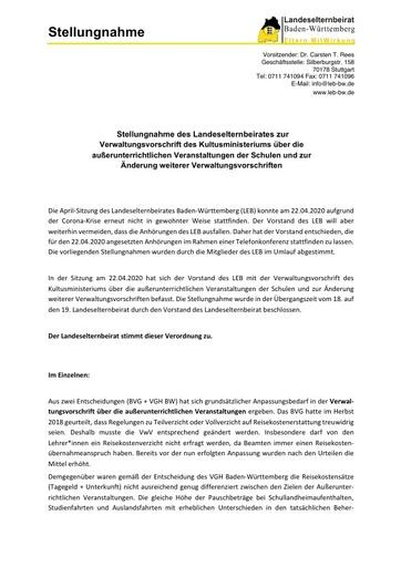 Stellungnahme zur Verwaltungsvorschrift über die außerunterrichtlichen Veranstaltungen der Schulen und zur Änderung weiterer Verwaltungsvorschriften