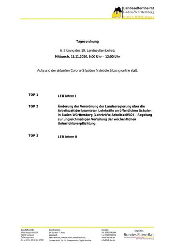 Tagesordnung 11.11.2020