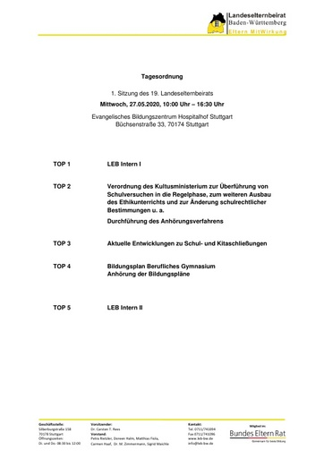 Tagesordnung 27.05.2020