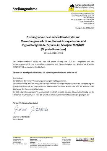 Stellungnahme zum Organisationserlass 2021/2022