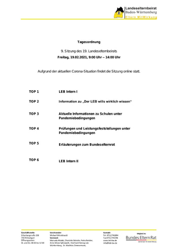 Tagesordnung 19.02.2021