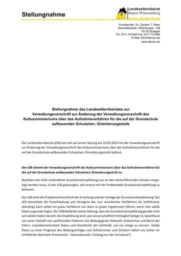 Stellungnahme zur Verwaltungsvorschrift zur Änderung der Verwaltungsvorschrift des Kultusministeriums über das Aufnahmeverfahren für die auf der Grundschule aufbauenden Schularten; Orientierungsstufe