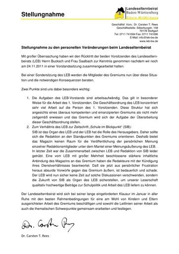 Stellungnahme zur personellen Veränderung im LEB