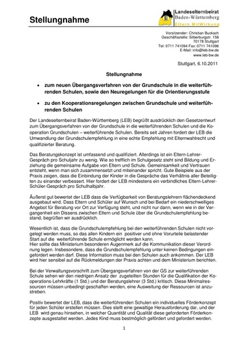Stellungnahme zur Grundschulempfehlung und Kooperation mit weiterf. Schulen