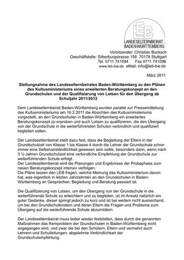 Stellungn. zu den Plänen des Kultusministeriums zum Beratungskonzept an den GS und zu Lotsen