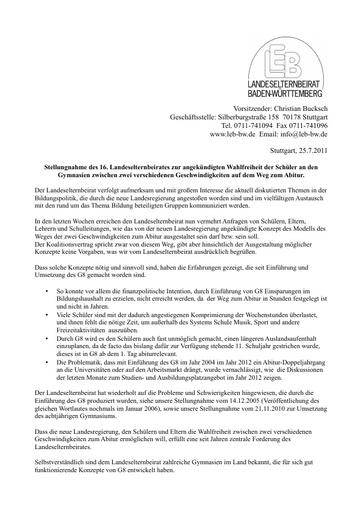 Stellungnahme zum G8+