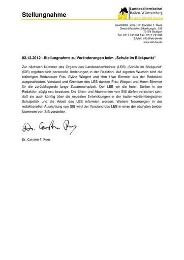 Stellungnahme zur personellen Veränderung in der Redaktion SIB