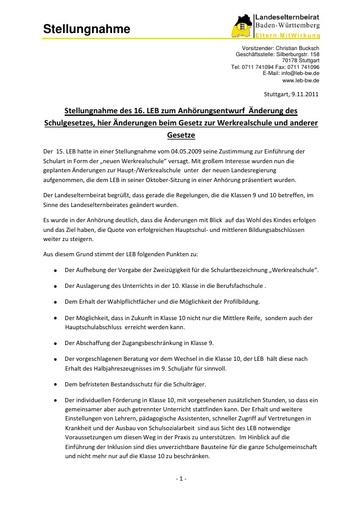 Änderungen beim Gesetz zur Werkrealschule und anderer Gesetze
