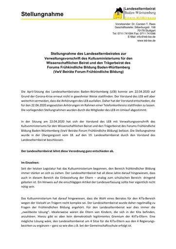 Stellungnahme zur Verwaltungsvorschrift für den Wissenschaftlichen Beirat und den Trägerbeirat des Forums Frühkindliche Bildung