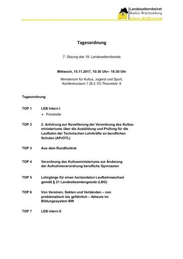 Tagesordnung 15.11.2017