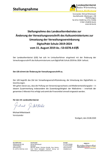 Stellungnahme zur Umsetzung der Verwaltungsvereinbarung DigitalPakt Schule