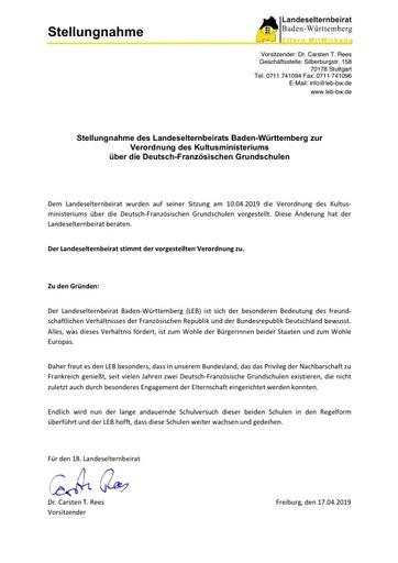 Stellungnahme zur Verordnung des Kultusministeriums über die Deutsch-Französischen Grundschulen