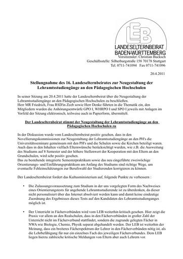 Neuordnung der Lehramtsstudiengänge an den PH