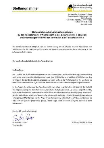 Stellungnahme zu den Fachplänen von Wahlfächern in der Sekundarstufe II sowie zu Unterrichtsangeboten im Fach Informatik in der Sekundarstufe II