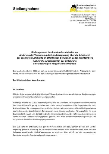 Stellungnahme zur Änderung der Lehrkräfte_ArbeitszeitVO