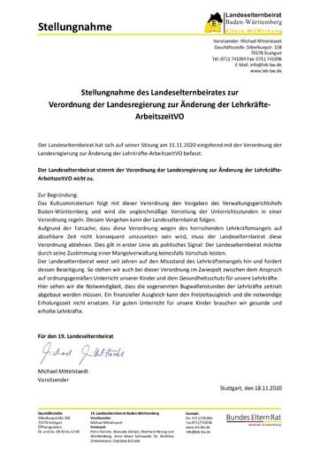 Stellungnahme zur Verordnung der Landesregierung zur Änderung der Lehrkräfte-ArbeitszeitVO