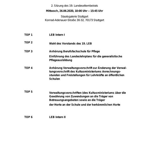 Tagesordnung 26.06.2020