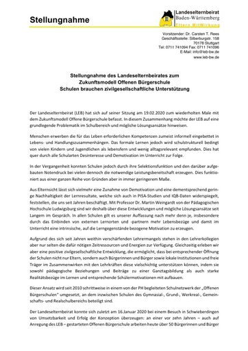 Stellungnahme uim Zukunftsmodell Offene Bürgerschule