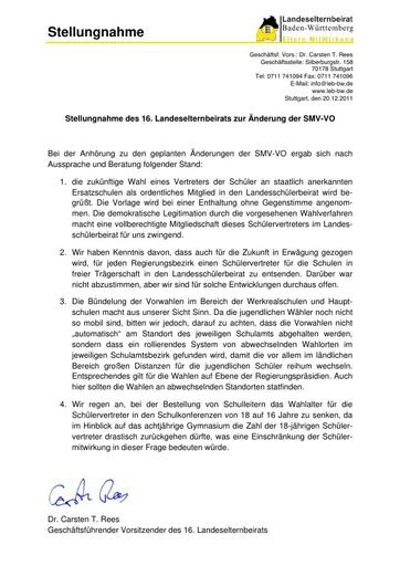 Stellungnahme zur Änderung der SMV-Verordnung