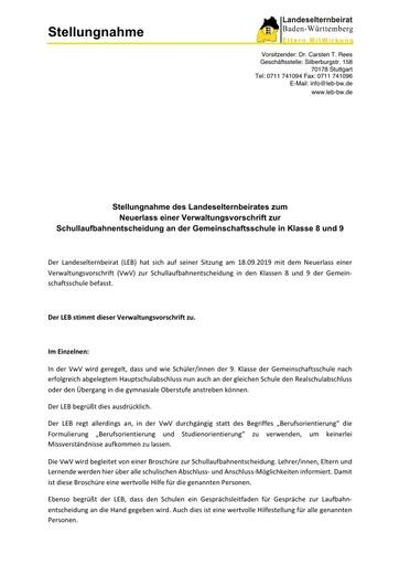 Stellungnahme zum Neuerlass einer Verwaltungsvorschrift zur Schullaufbahnentscheidung an der Gemeinschaftsschule