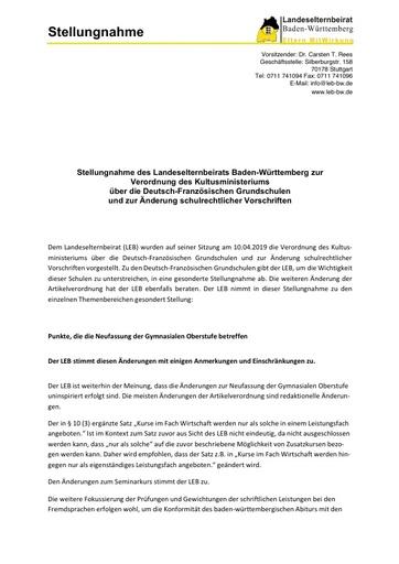 Stellungnahme zur Verordnung des Kultusministeriums über die Deutsch-Französischen Grundschulen und zur Änderung schulrechtlicher Vorschriften