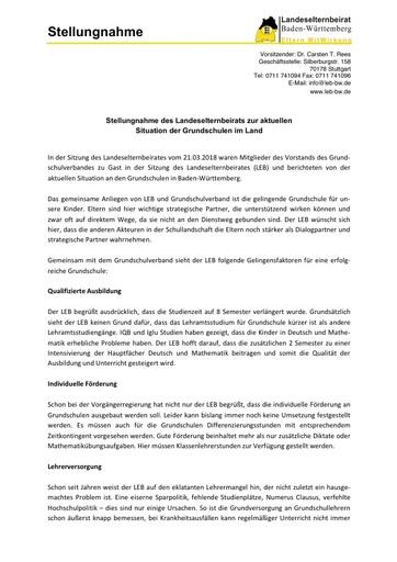 Stellungnahme des Landeselternbeirats zur aktuellen  Situation der Grundschulen im Land