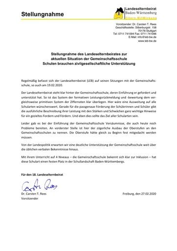 Stellungnahme zur allgemeinen Situation der Gemeinschaftsschulen