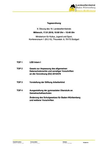 Tagesordnung 17.01.2018