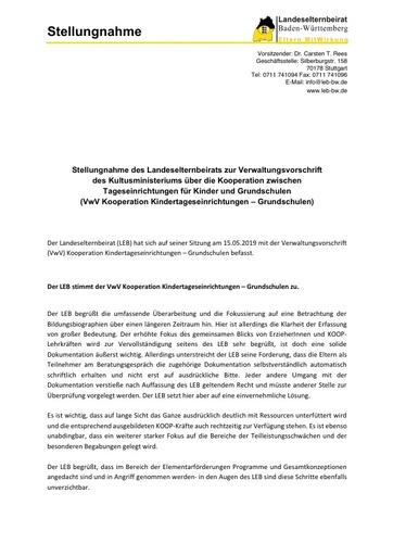 Stellungnahme zur Verwaltungsvorschrift des Kultusministeriums über die Kooperation zwischen Tageseinrichtungen für Kinder und Grundschulen