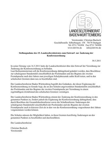 Entwurf zur Änderung der Konferenzordnung
