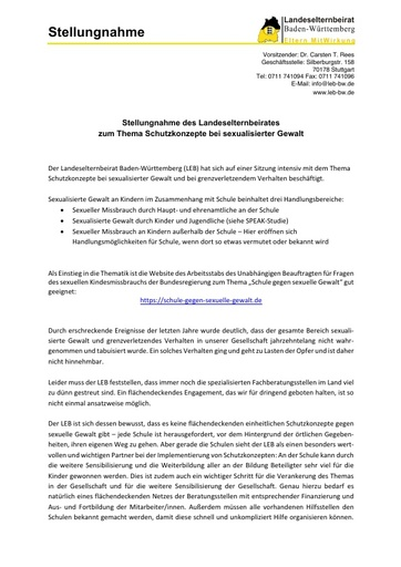 Stellungnahme zum Thema Schutzkonzepte bei sexualisierter Gewalt